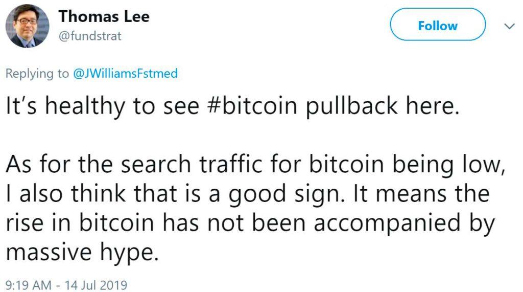 Том Ли твитер о биткоине